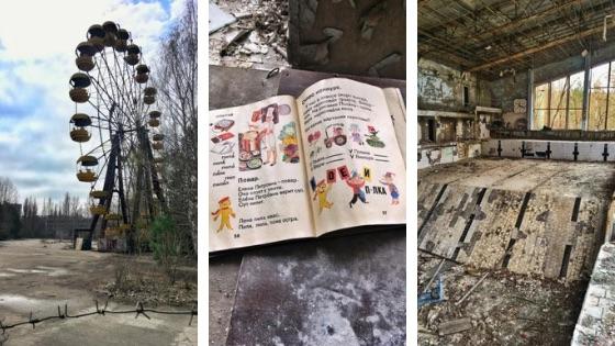Czarnobyl. Ślady dawnego życia, m.in. wesołe miasteczko i basen