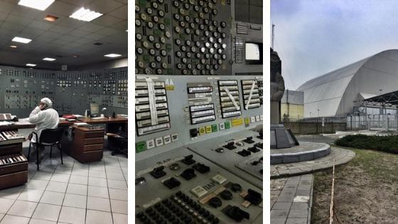 Elektrownia w Czarnobylu; po prawej: nowy sarkofag na reaktorze 4.